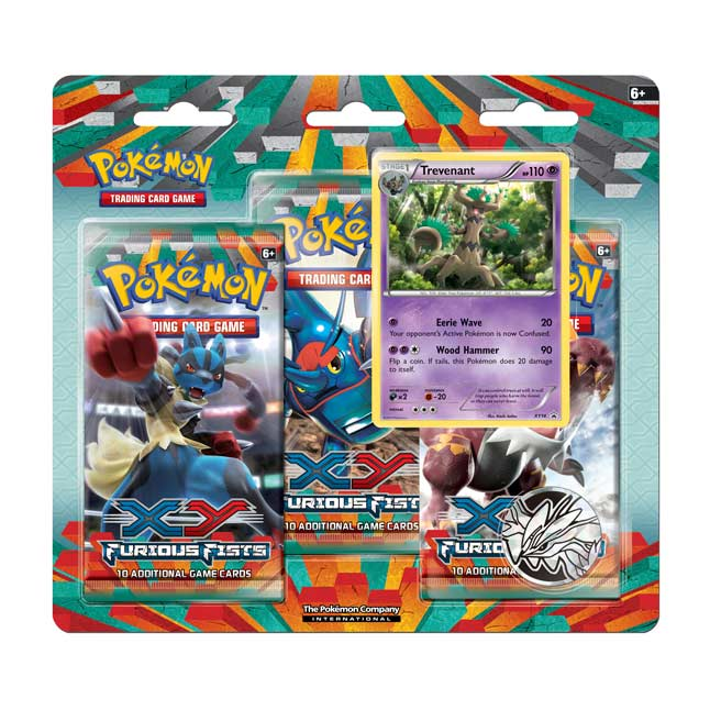 Image for Pokémon TCG: XY-Furious Fists Boosters (3 Booster Packs with Trevenant Promo Card and Coin) from Pokemon Center