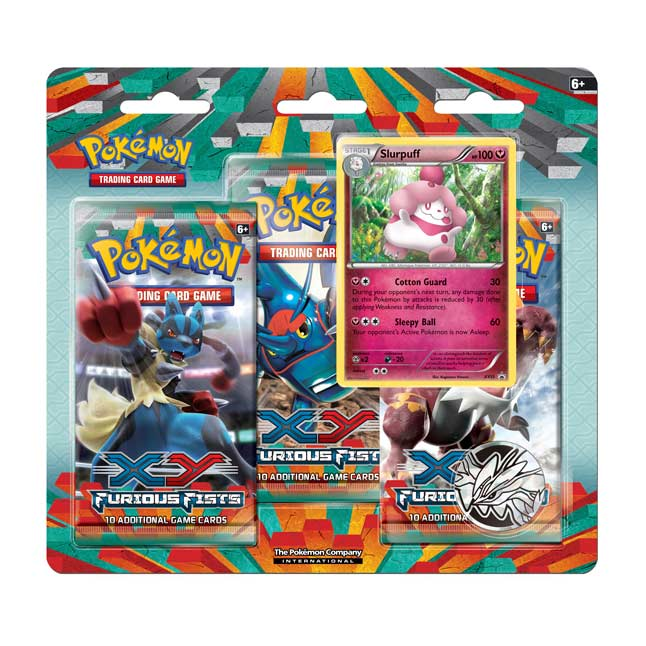 Image for Pokémon TCG: XY-Furious Fists Boosters (3 Booster Packs with Slurpuff Promo Card and Coin) from Pokemon Center