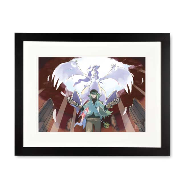 Image for N's Reshiram Framed Art Print by Ken Sugimori from Pokemon Center