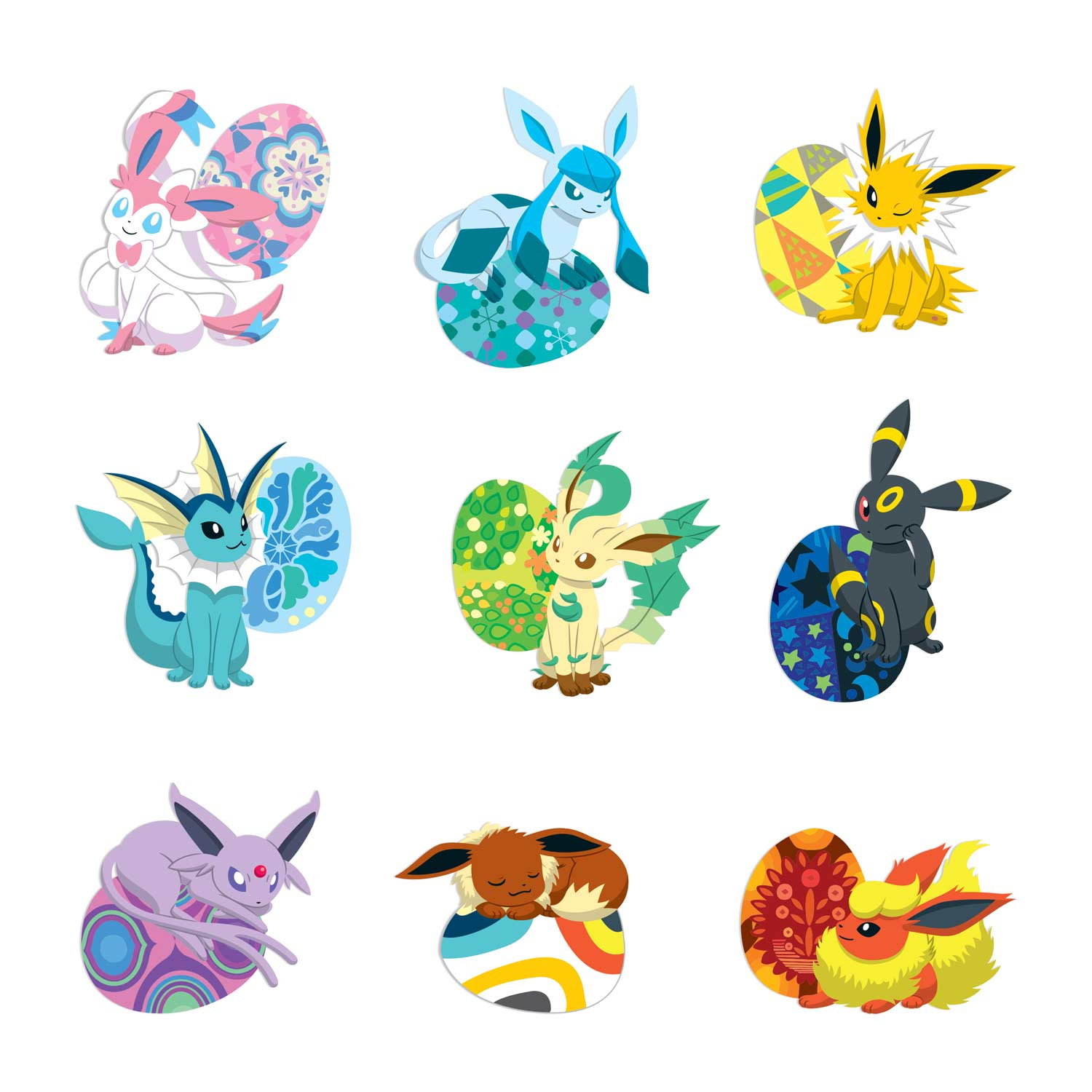 Image For Eevee Essences Wall Graphics Set Of 9 From Pokemon Center