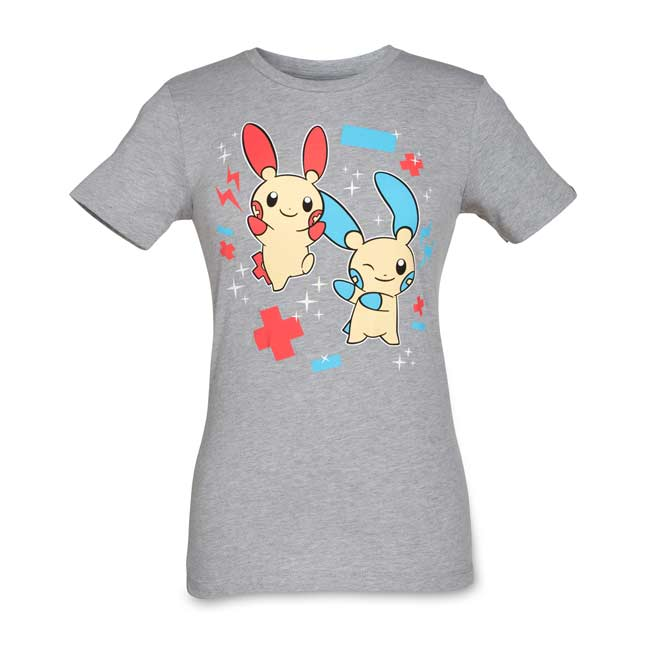 Image for Plusle and Minun Women's Fitted Crewneck T-Shirt from Pokemon Center