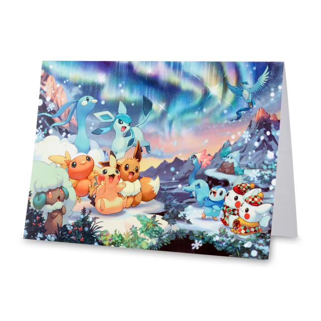 Image for Pokémon Snow Scene Holiday Greeting Card Set (12 Cards with Seals and Envelopes) from Pokemon Center