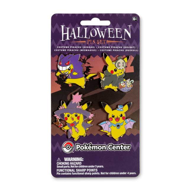 Image for Gengar, Duskull, Golbat & Mismagius Costume Pikachu Pin Set (4 Pack) from Pokemon Center