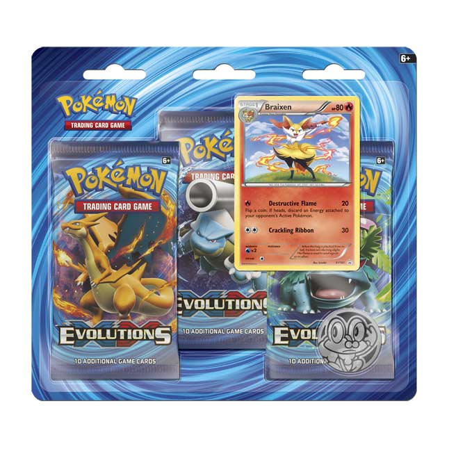 Image for Pokémon TCG: XY—Evolutions Boosters (3 Booster Packs with Coin and Braixen Card) from Pokemon Center