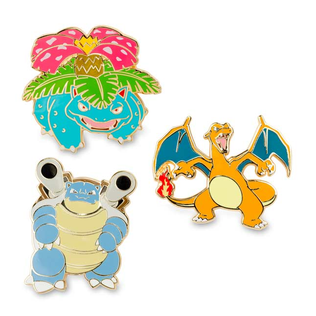 Image for Venusaur Charizard Blastoise Pokémon Pins 3-Pack from Pokemon Center