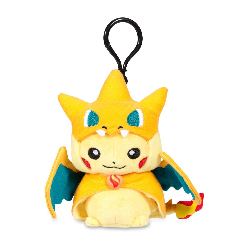 Mega Charizard Y Costume Pikachu With Cape And Hood Keychain Plush