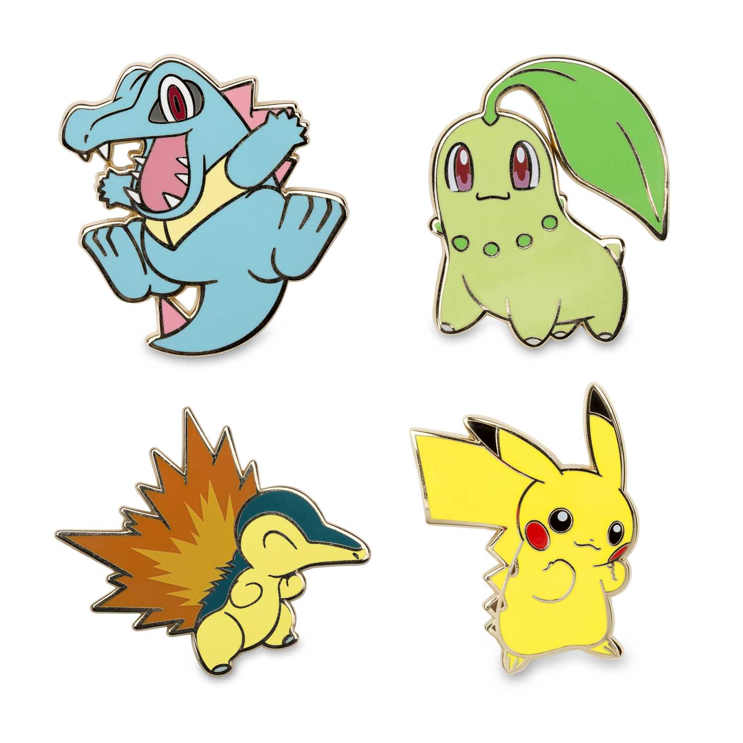 56d30a86 Image for Pikachu Chikorita Cyndaquil Totodile Pokémon Pins from Pokemon  Center
