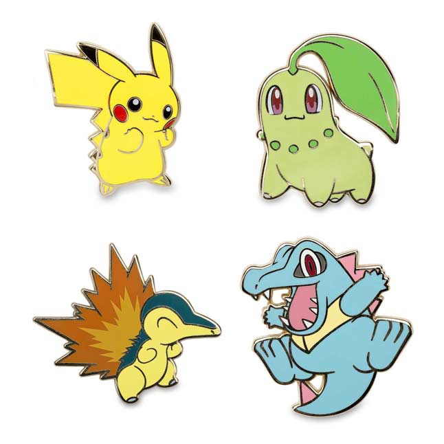 Image for Pikachu Chikorita Cyndaquil Totodile Pokémon Pins from Pokemon Center