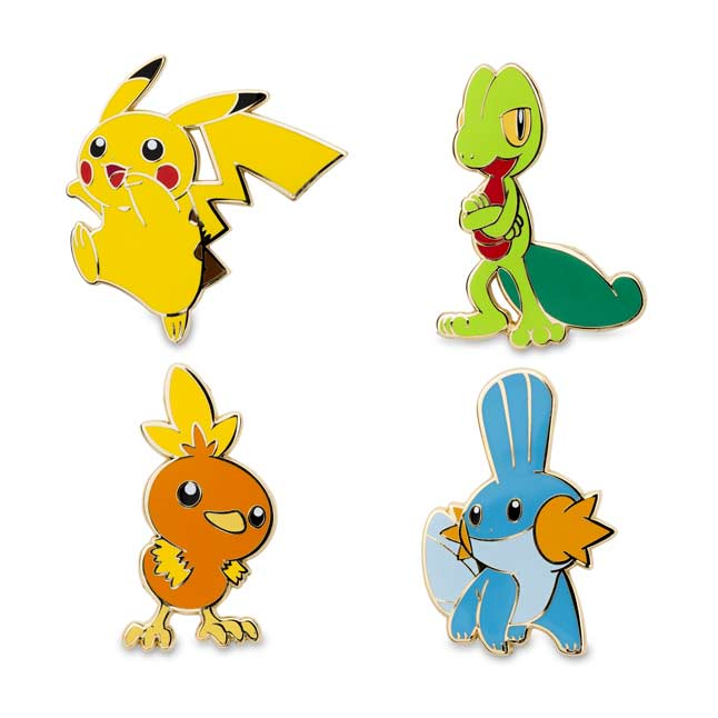Image for Pikachu Treecko Torchic Mudkip Pokémon Pins from Pokemon Center