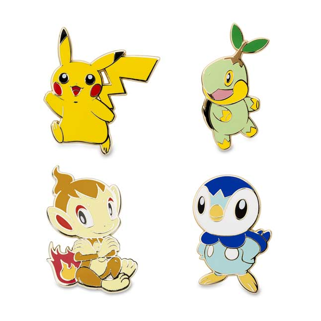 Image for Pikachu Turtwig Chimchar Piplup Pokémon Pins from Pokemon Center