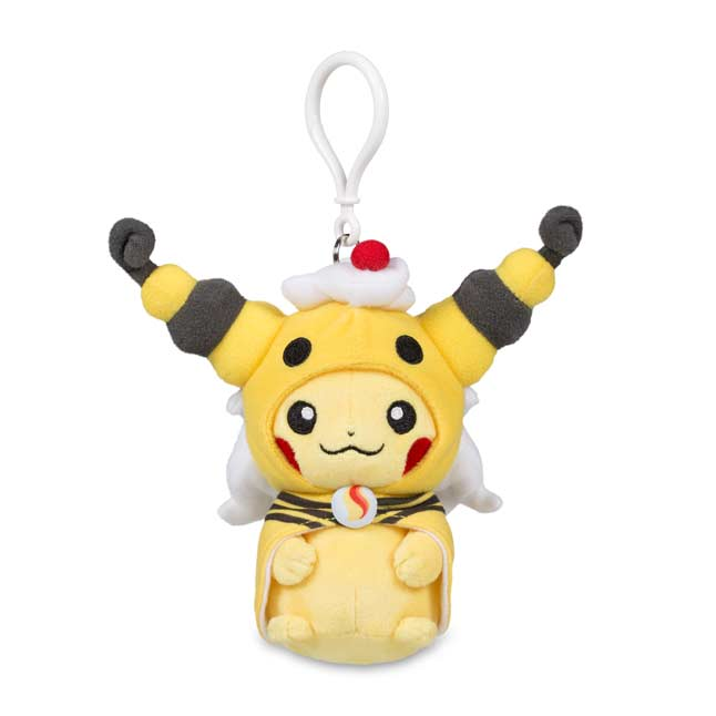 Image for Pikachu with Mega Ampharos Hoodie Plush Keychain from Pokemon Center