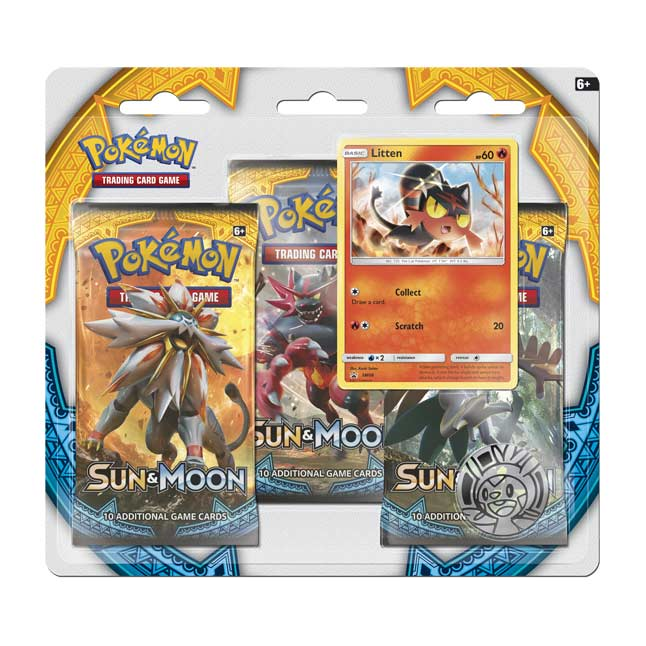 Image for Pokémon TCG: 3 Sun & Moon Booster Packs with Bonus Litten Promo Card and Coin from Pokemon Center