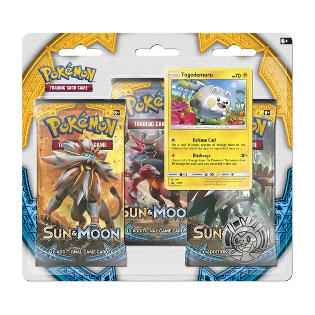 Image for Pokémon TCG: 3 Sun & Moon Booster Packs with Bonus Togedemaru Promo Card and Coin from Pokemon Center