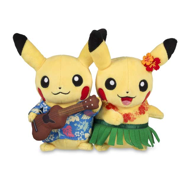 "Image for Paired Pikachu Celebrations: Hawaiian Pikachu Plush - 8"" from Pokemon Center"
