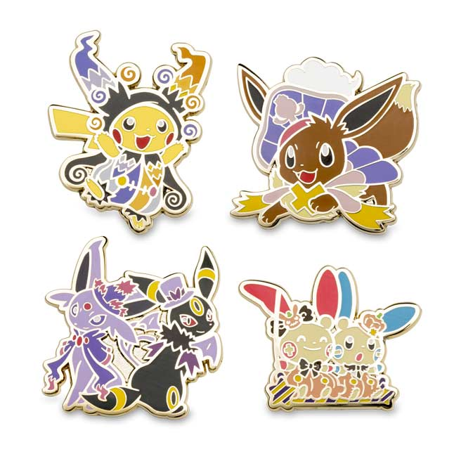 Image for Halloween Circus Pokémon Pin 4-Pack (Pikachu, Eevee, Plusle & Minun, Espeon & Umbreon) from Pokemon Center