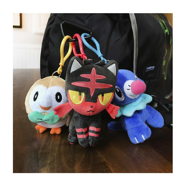 "NWT 2017 Pokemon Center Litten 4"" Poké Stuffed Plush Keychain Backpack Clip Toy"
