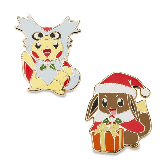 Image for Delibird Cape Pikachu & Holiday Eevee Pokémon Pins (2 Pack) from Pokemon Center