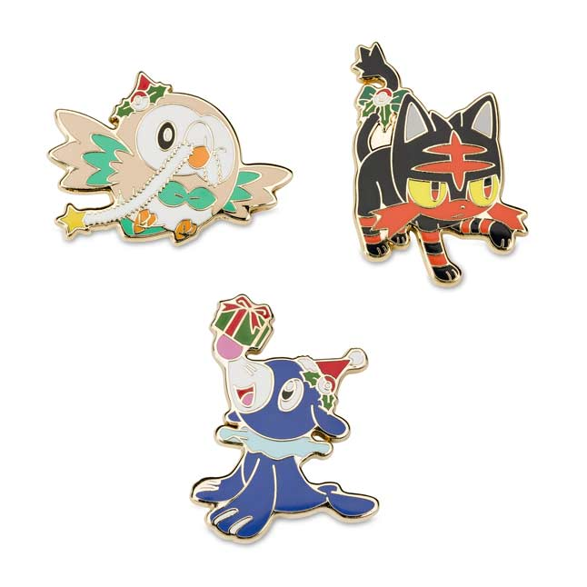 Image for Rowlet Litten Popplio Holiday Pokémon Pins (3 Pack) from Pokemon Center