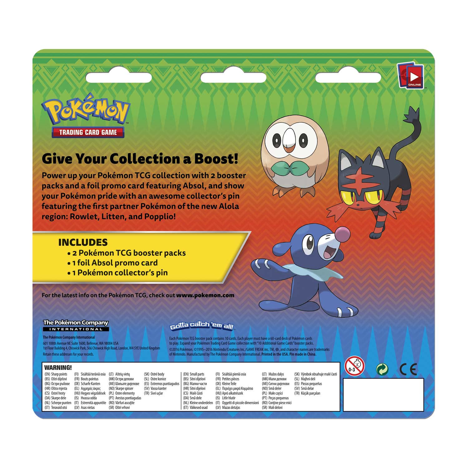 Pokémon TCG: Collector's Pin 2-Pack Blister (Rowlet, Litten, and Popplio)