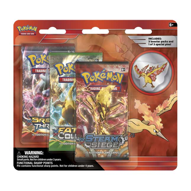 Image for Pokémon TCG: Legendary Birds 3 Boosters with Moltres Collector's Pin from Pokemon Center
