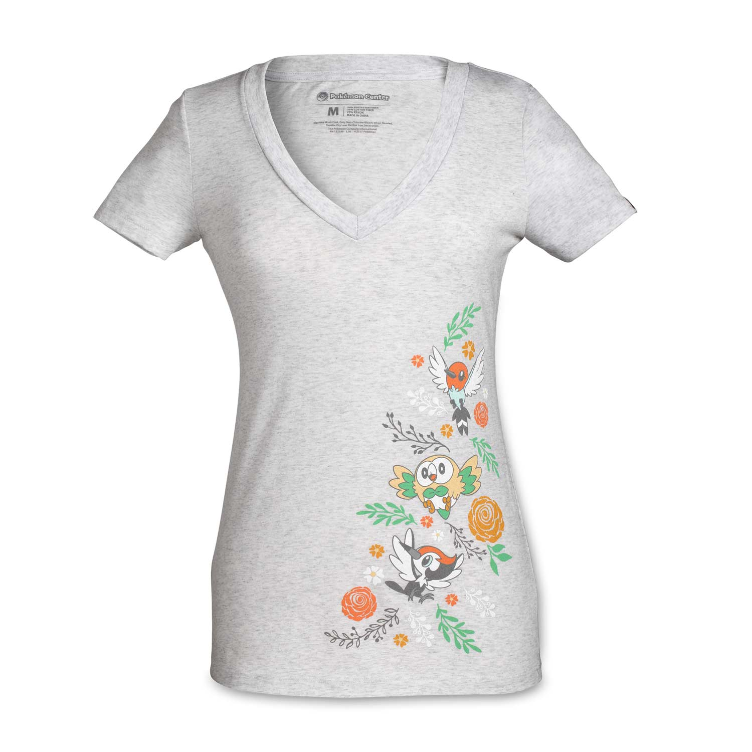 27a772159015 Image for Floral Flight Women's Fitted V-Neck T-Shirt from Pokemon Center