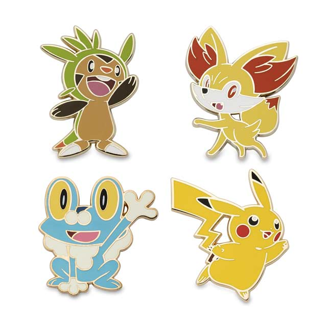 Image for Chespin, Fennekin, Froakie, and Pikachu Pokémon Pins (4-Pack) from Pokemon Center
