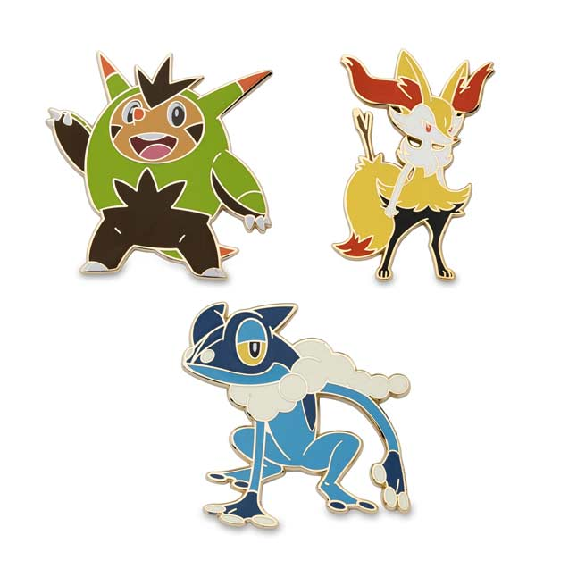 Image for Quilladin, Braixen, Frogadier Pokémon Pins (3-Pack) from Pokemon Center