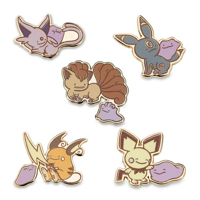 Image for Ditto As Espeon, Ditto As Umbreon, Ditto As Vulpix, Ditto as Raichu, and Ditto As Pichu Pokémon Pins (5-Pack) from Pokemon Center