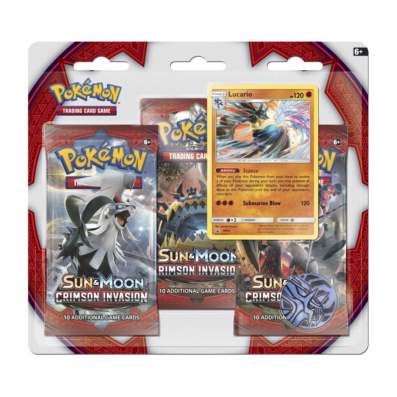 pokémon tcg sun moon crimson invasion 3 boosters lucario promo card