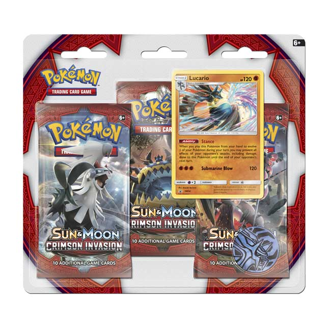 Image for Pokémon TCG: Sun & Moon—Crimson Invasion 3 Booster Packs plus Lucario Promo Card from Pokemon Center
