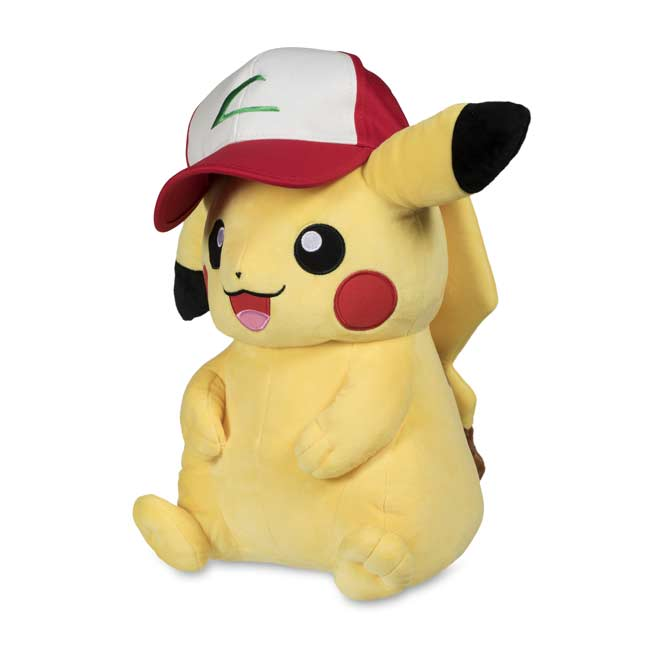 "Image for Pikachu Wearing Trainer Hat Poké Plush (Trainer Size) - 16"" from Pokemon Center"