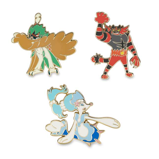 Image for Decidueye, Incineroar & Primarina Pokémon Pins (3-Pack) from Pokemon Center