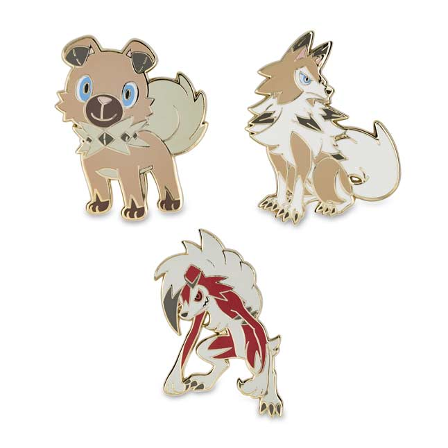 Image for Rockruff & Lycanroc Pokémon Pins (3-Pack) from Pokemon Center