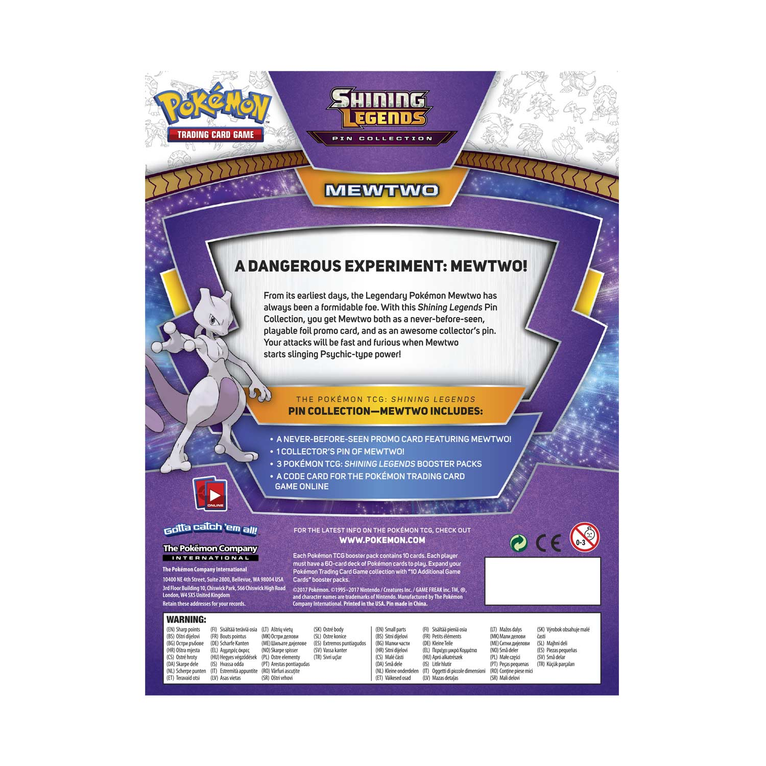 Pokémon TCG: Shining Legends Pin Collection—Mewtwo