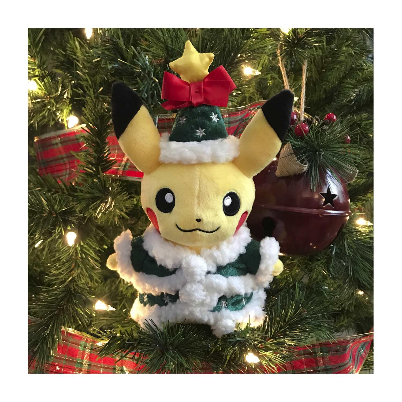 Christmas Pikachu.Holiday Tree Pikachu Poke Plush 8 3 4 In