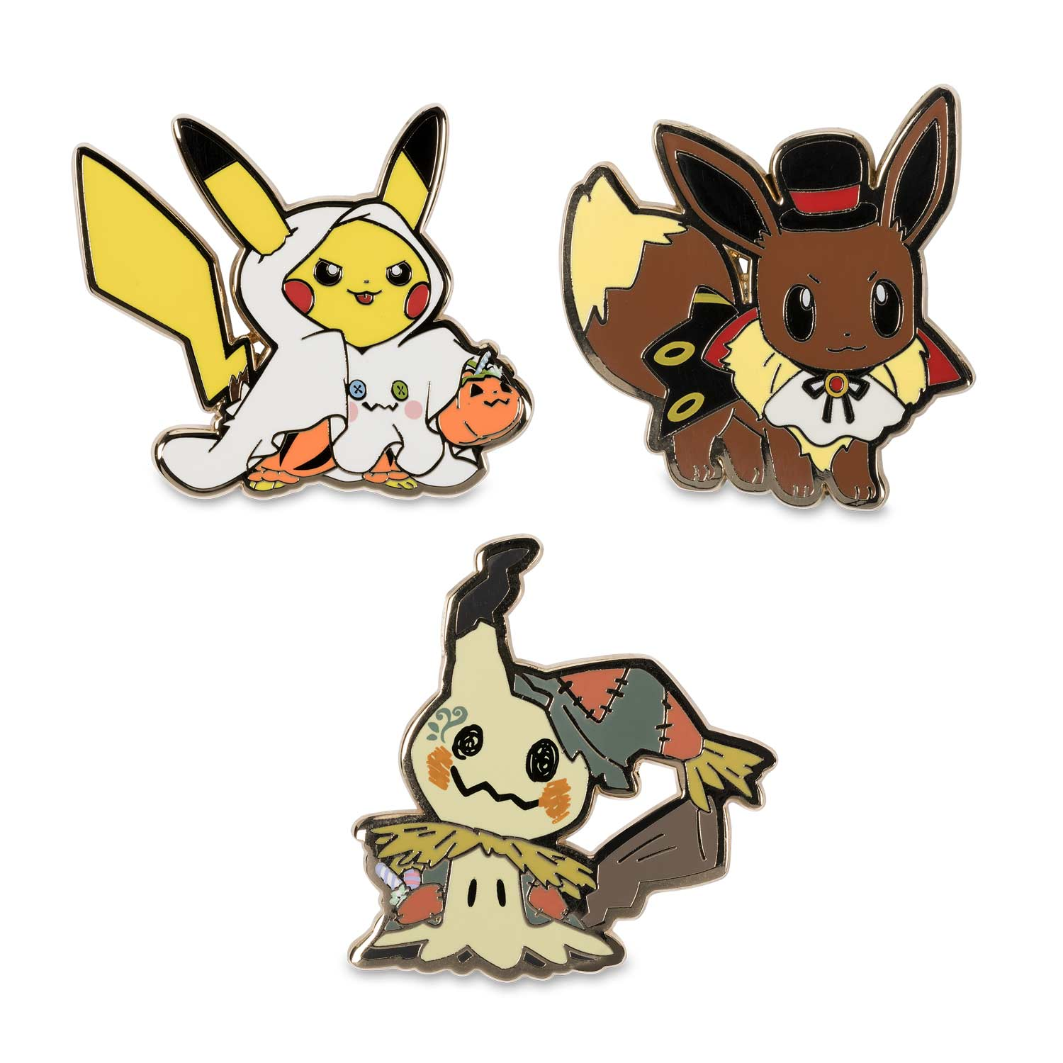 image for halloween pikachu eevee and mimikyu pokmon pins 3 pack