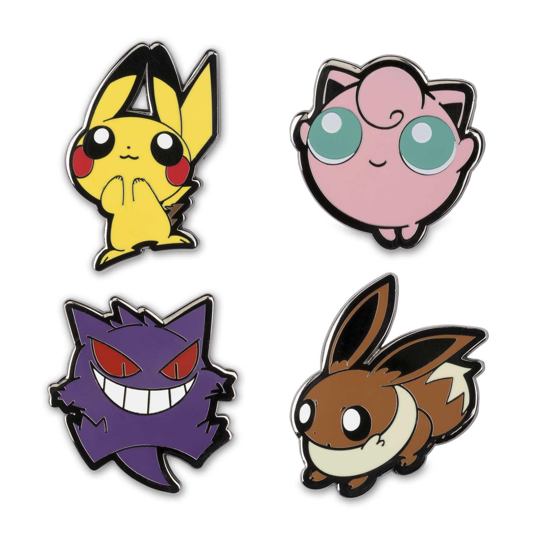 pikachu gengar jigglypuff and eevee pokémon pop pins