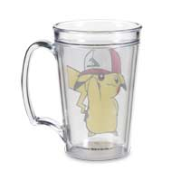 Image for Pikachu Wearing Kanto Trainer Hat 15 Oz. Clear Mug from Pokemon Center