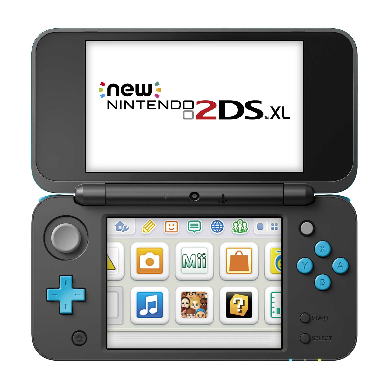 Nintendo 2ds xl game system black and turquoise for Housse new 2ds xl