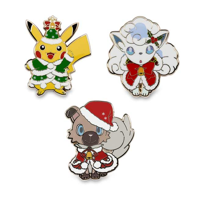Image for Holiday Tree Pikachu, Alolan Vulpix & Rockruff Pokémon Pins (3-Pack) from Pokemon Center