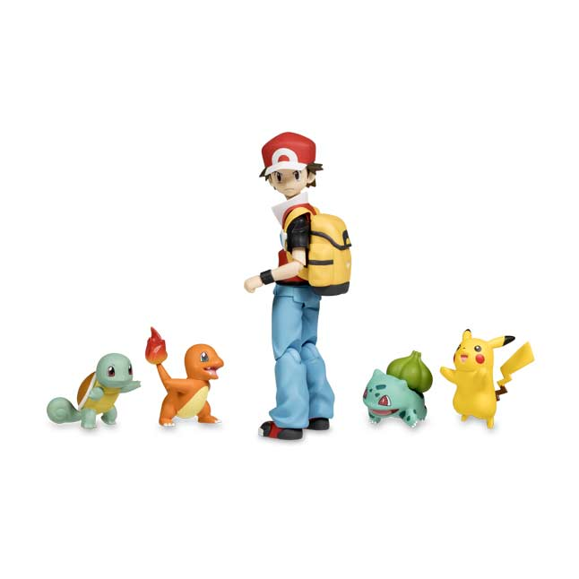 Image for figma: Red Posable Figure with Pikachu, Bulbasaur, Charmander & Squirtle from Pokemon Center