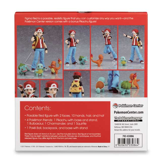 figma Red Posable Figure with Pikachu Bulbasaur Charmander /& Squirtle