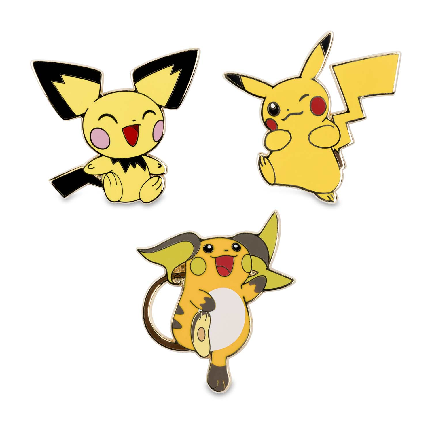 Image For Pichu Pikachu Raichu Pokemon Pins 3 Pack From