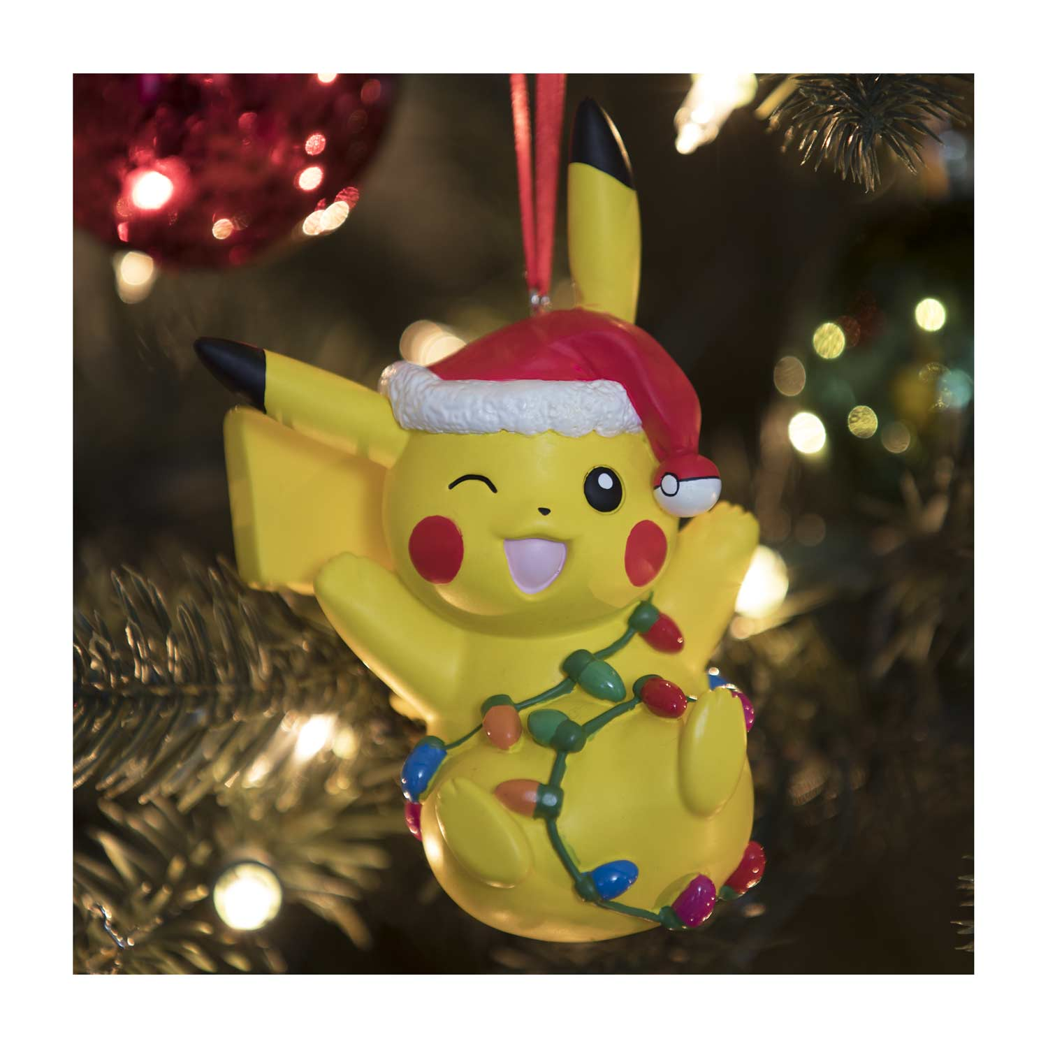 Pikachu Christmas Ornament.Pikachu Holiday Tangled Lights Ornament