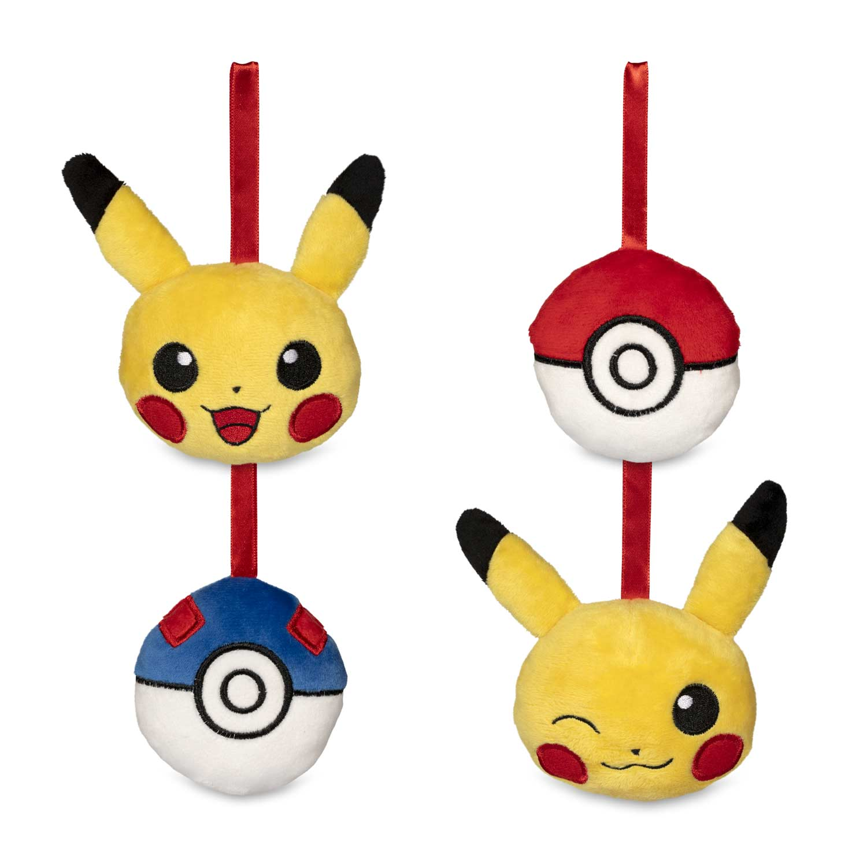 Pokemon Christmas Ornaments.Pikachu Holiday Plush Ornaments 4 Pack