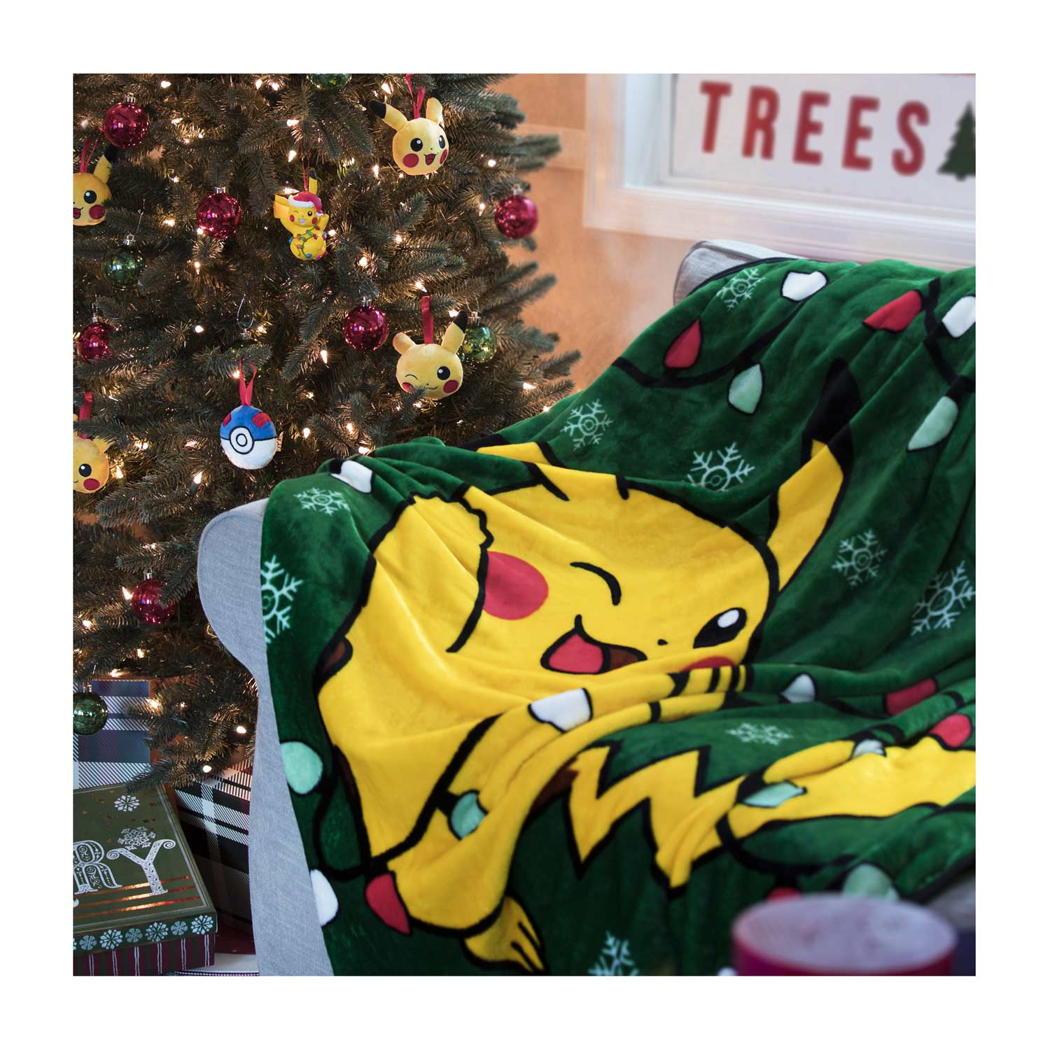 Pikachu Christmas Ornament.Pikachu Holiday Tangled Lights Fleece Throw 50 In By 60 In