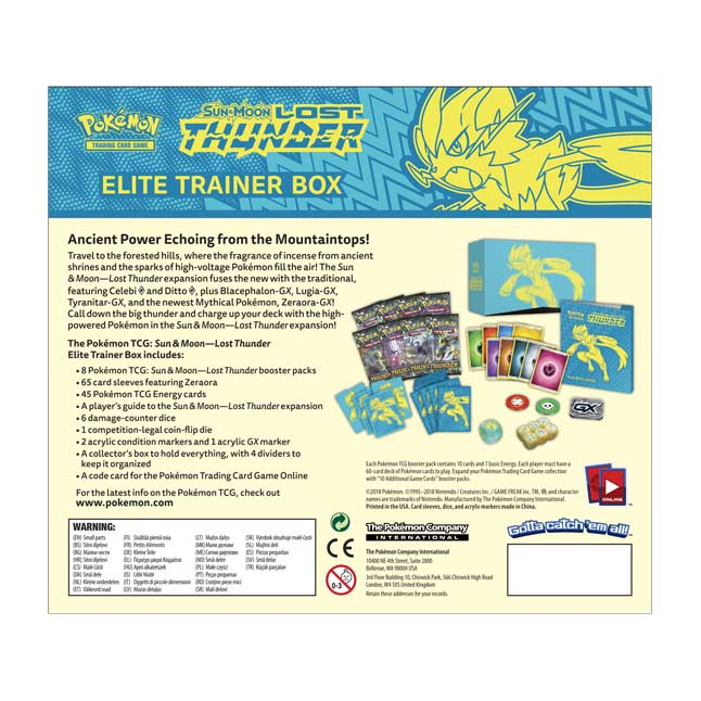 Image for Pokémon TCG: Sun & Moon-Lost Thunder Elite Trainer Box from Pokemon Center