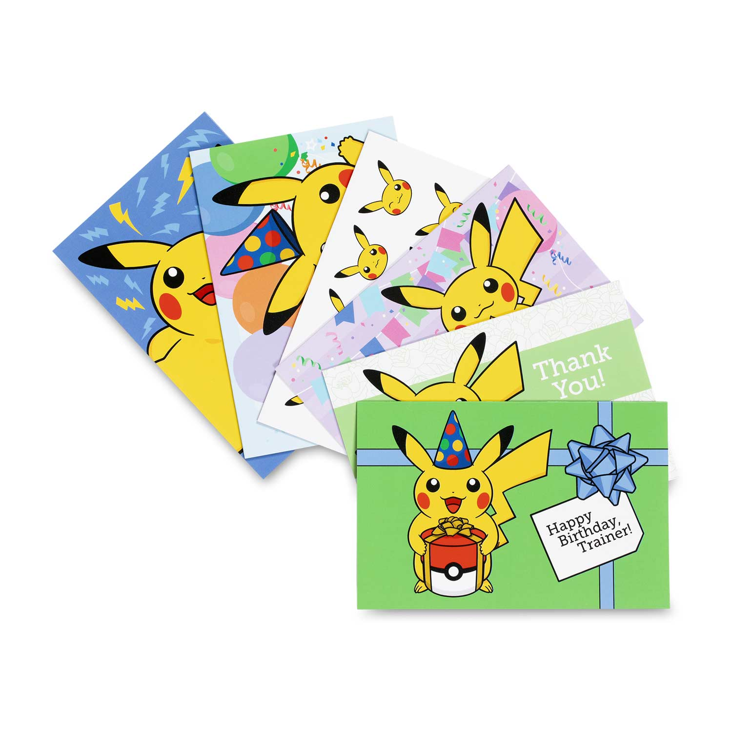 Image For Pikachu Greeting Card Set 6 Birthday 2 Thank You 4 Blank