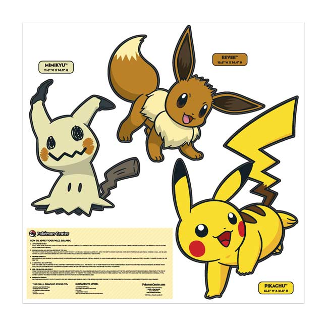 Image for Pikachu, Eevee & Mimikyu Wall Graphics from Pokémon Center