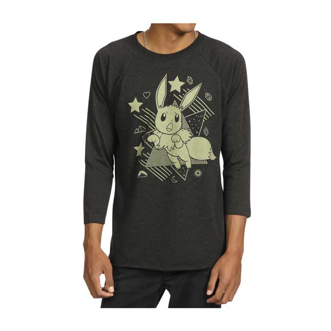 Image for Eevee Can't Wait Heather Black Raglan Shirt - Adult from Pokemon Center